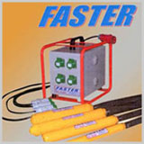 'FASTER' High Frequency	(Motor-in-Head) , 'FASTER' High And Normal Frequency External, 'FASTER' Immersion Vibrator With Static Convertor, 'FASTER' High Frequency Rotory Convertor , 'FASTER' Dam Constructions Vibrators , 'FASTER' High Frequency Motor In Head Paver Vibrators , 'FASTER' Electro Magnatic Vibratory Feeder,  'FASTER' Electro Magnatic External Vibrators .